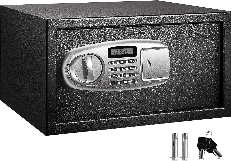 VEVOR Security Safe Box 1.1 Cubic Feet, Safe Deposit Box Black, Cabinet safes 17x14.5x9 Inch, Keypad Safe Digital Safe Box Great for Home, Hotel and Office