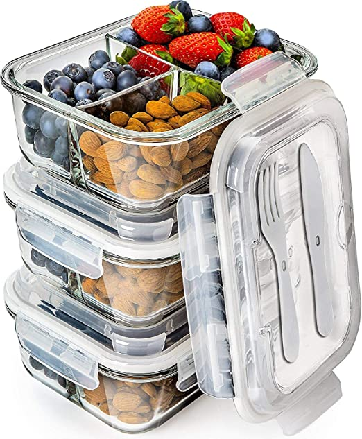 Amazon Com Prep Naturals Glass Meal Prep Containers 3 Compartment Bento Box Containers Glass Food Storage Containers With Lids Food Containers Food Prep Containers Glass Storage Containers With Lids 3 Pack