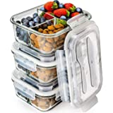 Prep Naturals Glass Meal Prep Containers 3 Compartment - Bento Box Containers Glass Food Storage Containers with Lids - Food