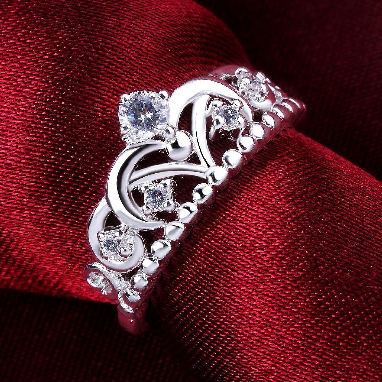 Amazon.com: Women's 925 Sterling Silver Gorgeous CZ Princess Crown ...