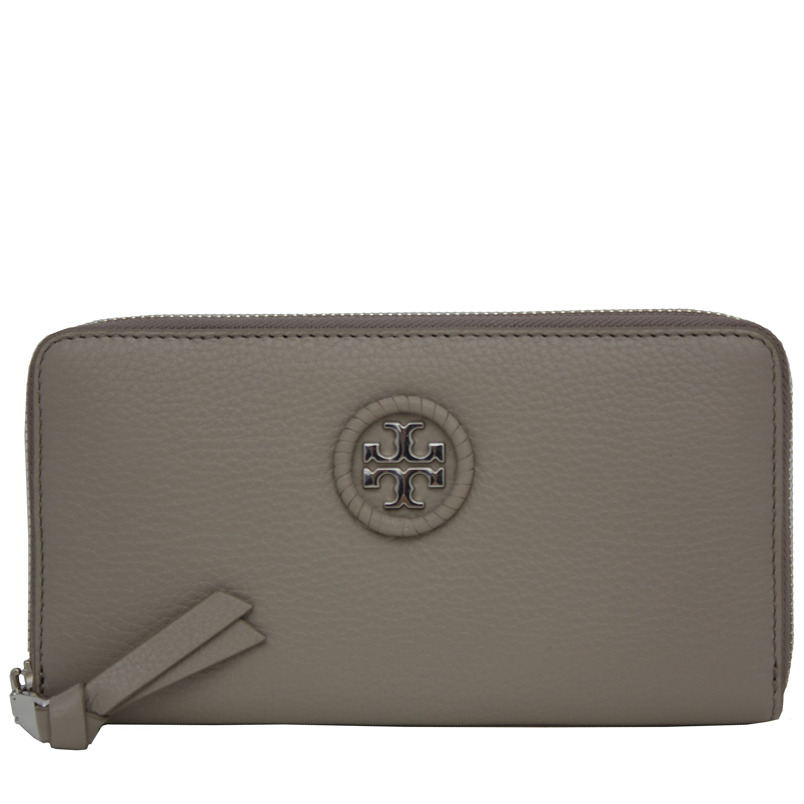 Tory Burch Wallet Zip Around Wallet Whipstitch TB Logo Leather (French Gray) by Tory Burch