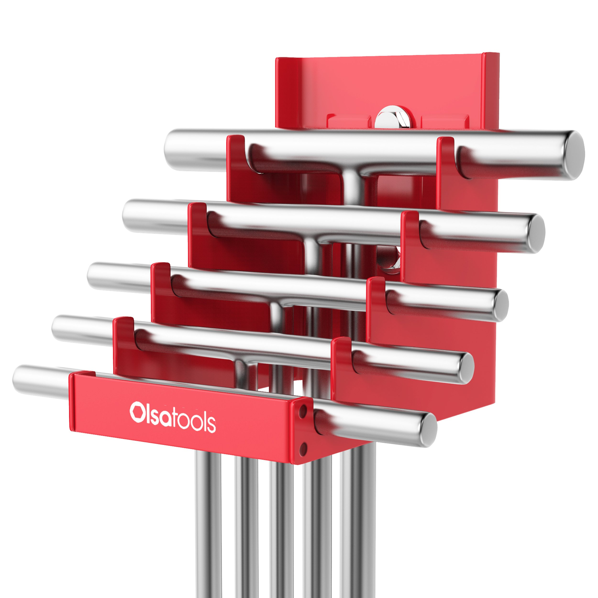 Olsa Tools | Magnetic T-Handle Organizer for Tool Storage | Heavy Duty Magnetic Tool Organizer | Holds 5 T-Handles | Red