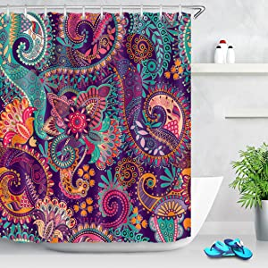 LB Indian Bohemian Shower Curtain Mandala Design Colorful Boho Floral Pattern Paisley Shower Curtains Teal Purple Shower Curtains for Bathroom Waterproof Polyester Fabric 72x72 Inch with 12 Hooks