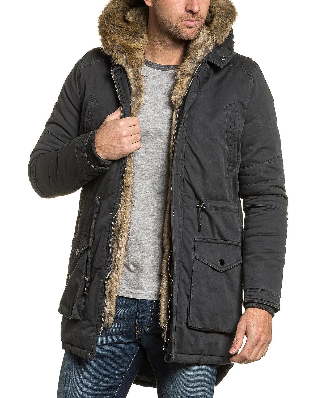 Gov Denim - Gray parka jacket men detachable fur