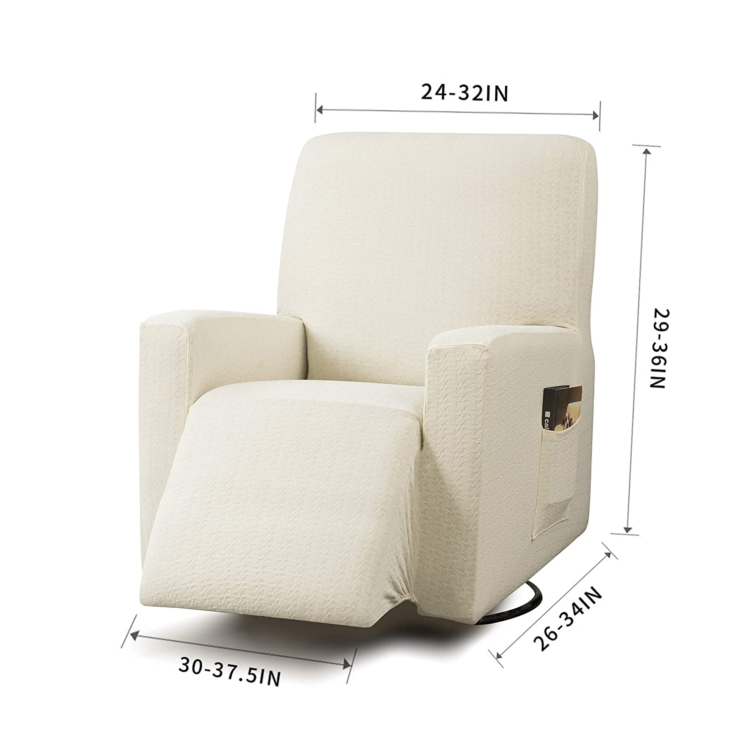 Cool Tikami Recliner Chair Covers With Remote Pocket Oversized Chair Slipcover Spandex Anti Slip Sofa Slipcovers Furniture Protector Off White Creativecarmelina Interior Chair Design Creativecarmelinacom
