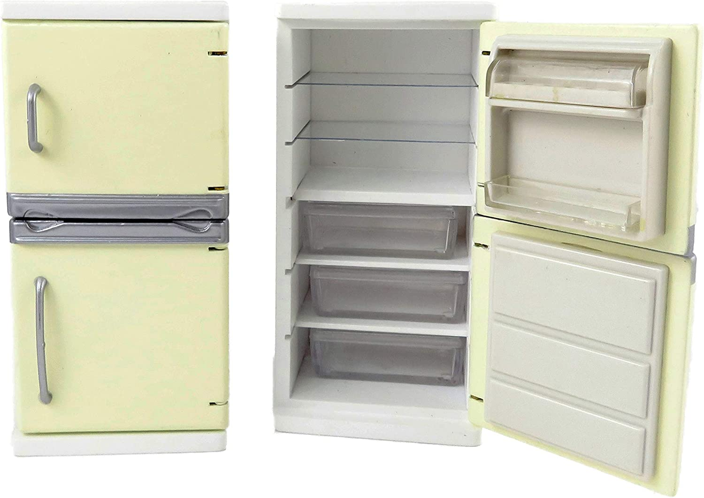 Melody Jane Dolls House Cream Fridge Freezer Modern Kitchen Furniture 1:12 Scale