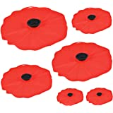 "Charles Viancin Poppy Silicone Lid - Set of 6 - 11"", 9"", 8"", 6"", and two 4"""