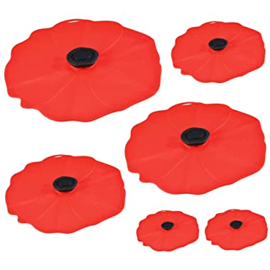 Charles Viancin Poppy Silicone Lid - Set of 6-11 , 9 , 8 , 6 , and two 4