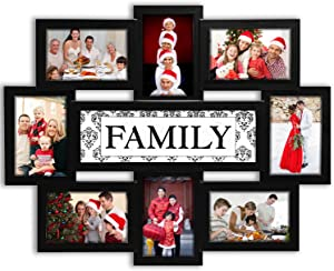 Jerry & Maggie - Photo Frame 22x17 Family n Friends Theme Black Picture Frame Selfie Gallery Collage Wall Hanging for 6x4 Photo - 8 Photo Sockets - Wall Mounting Design