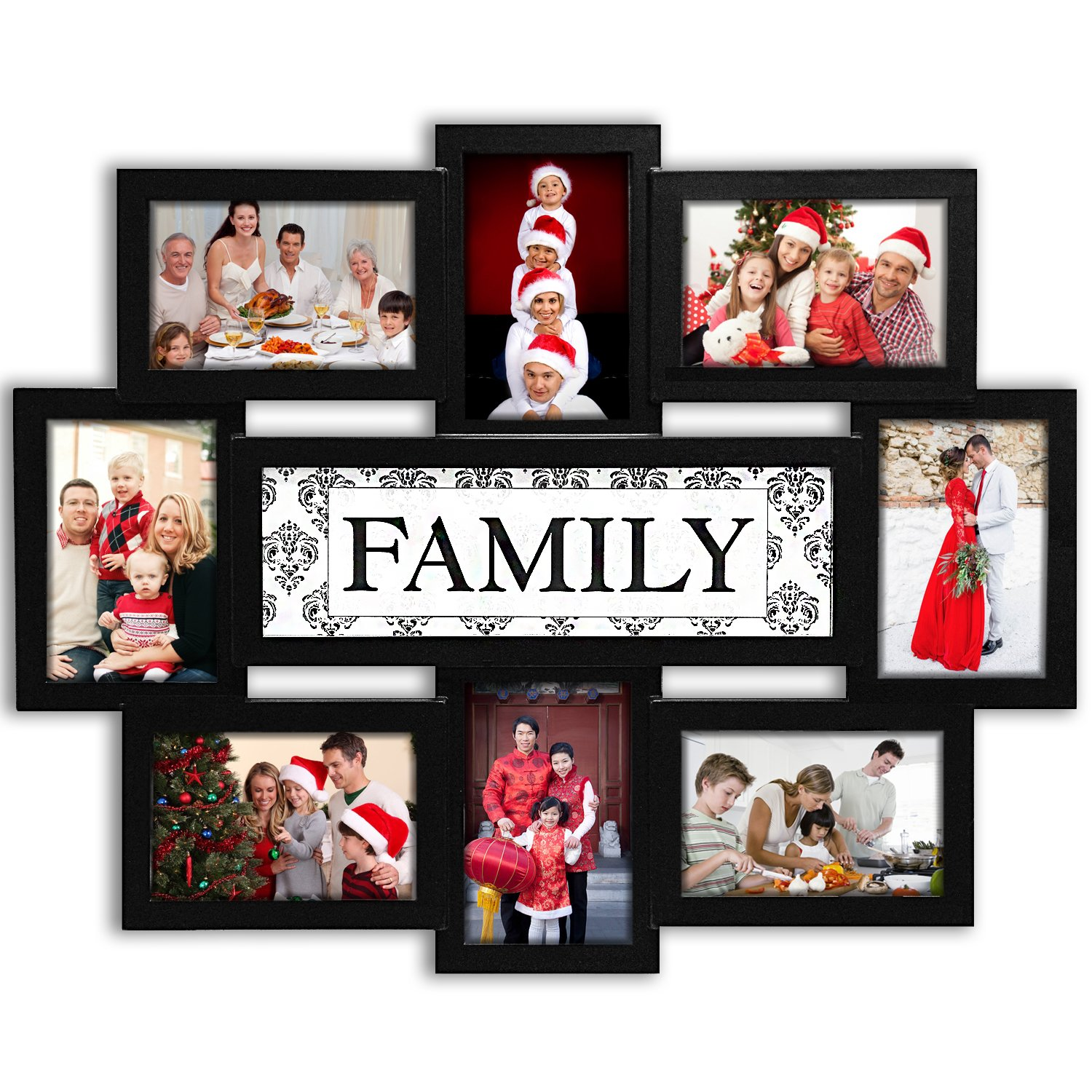 Jerry & Maggie - Photo Frame 22x17 Family Theme Black Picture Frame Selfie Gallery Collage Wall Hanging for 6x4 Photo - 8 Photo Sockets - Wall Mounting Design by Jerry & Maggie