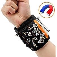 Magnetische Armbänder, Magnetarmband mit 15 Starken Magneten für Holding Schrauben, Nägel, Dübel, Bohrungen und Kleine Metallwerkzeuge, ,mit 2 Nägel/Schrauben Taschen - TimberRain