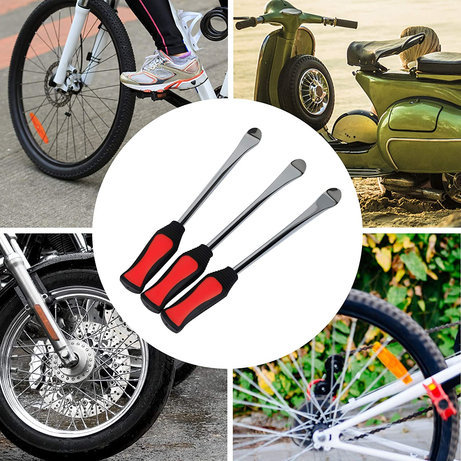 CHENGDE Tire Lever Tool Kit Tyre Levers Motorcycle Tyre Spoons 3 Tire Lever Tool Spoon with 2pcs Wheel Rim Protectors Tool Kit for Motorcycle Bike Car Tire Changing Removing