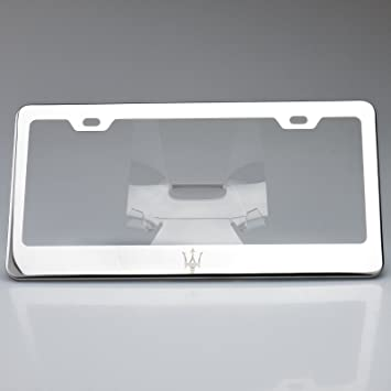 Mirror Polish Stainless Steel Laser Engrave License Plate Frame Holder Maserati