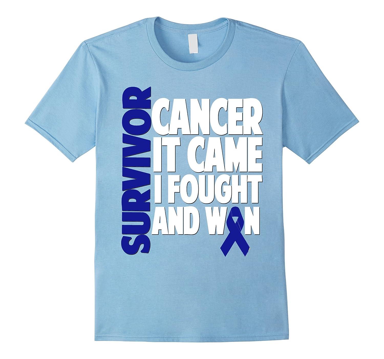 Colon Cancer Survivor Shirt Gift Dark Blue Ribbon Fighter-FL