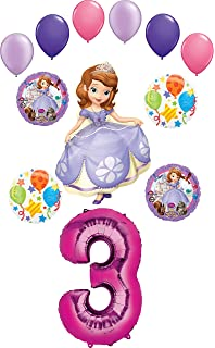 Sofia the First Balloon Bouquet 3rd Birthday 5 pcs Party Supplies Viva Party SG/_B071J6M2YL/_US