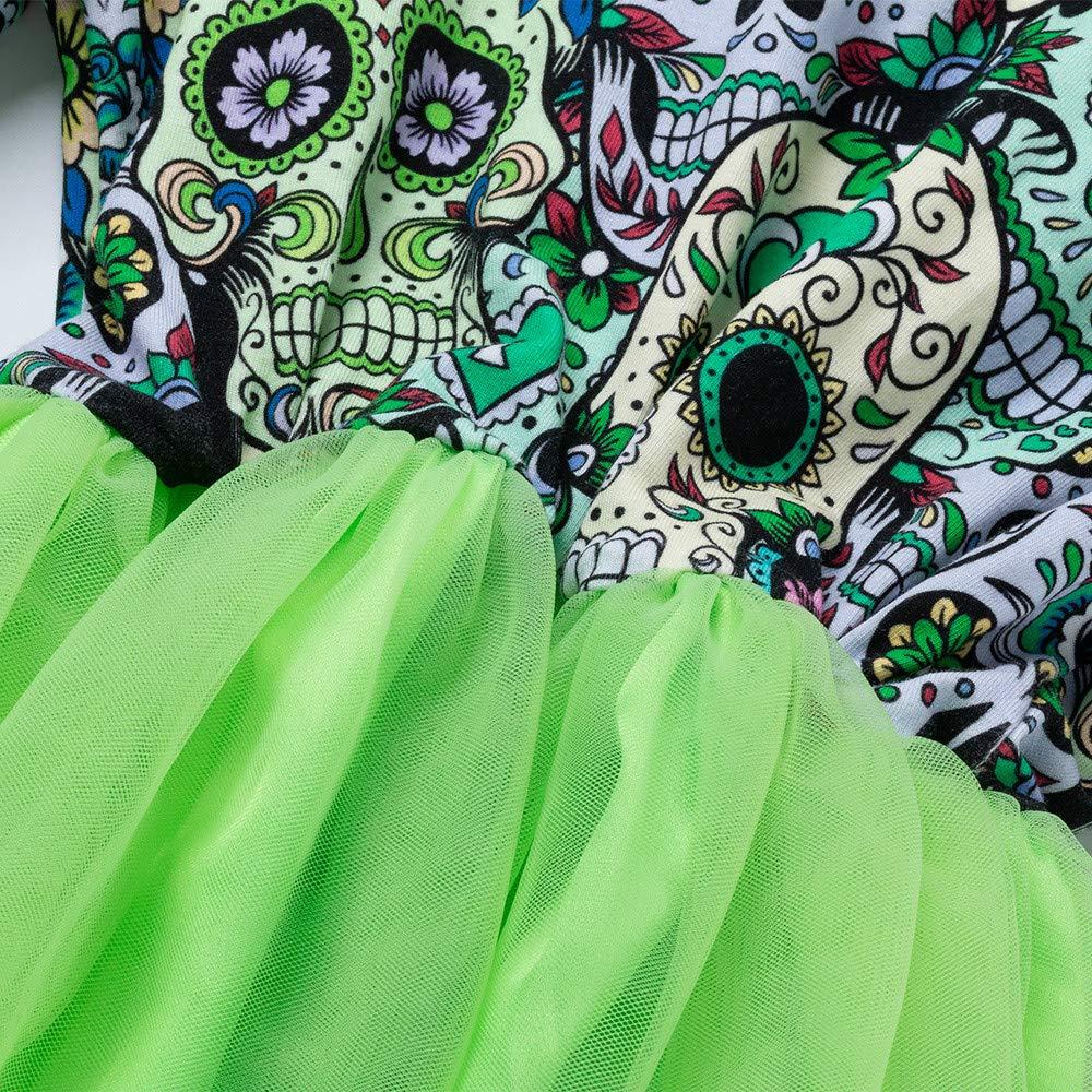 XUANOU Girls Long Sleeve Cartoon Skull Mesh Stitching Dress Newborn Baby Girls Halloween Cartoon Skull Princess Dress