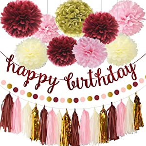 Burgundy Pink Birthday Decorations for Women Grils, Pink Birthday Decoration Set with Birthday Banner, Paper Pom Poms, Circle Dot Garland and Tassel Garland for Women Grils kids Birthday Party Decor