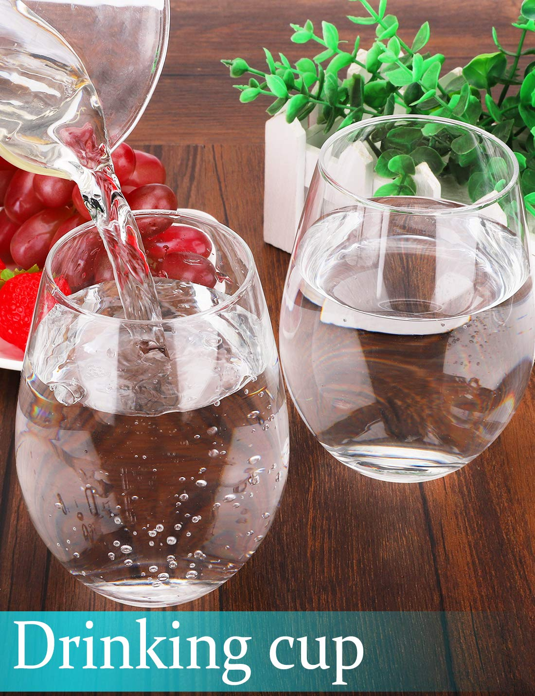 Stemless Wine Glasses, 20- Ounce, Drinking Glass Set, Tumbler Cup, Clear, 4- Piece, Ideal for Red and White Wine, Juice, Water, Kitchen Glassware, Beach, Wedding and Party Gifts - Amallino by Amallino (Image #4)