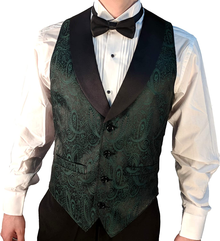 Dark Green Paisley Tuxedo Dress Vest Waistcoat /& Neck tie /& Bowtie /& Hanky SET