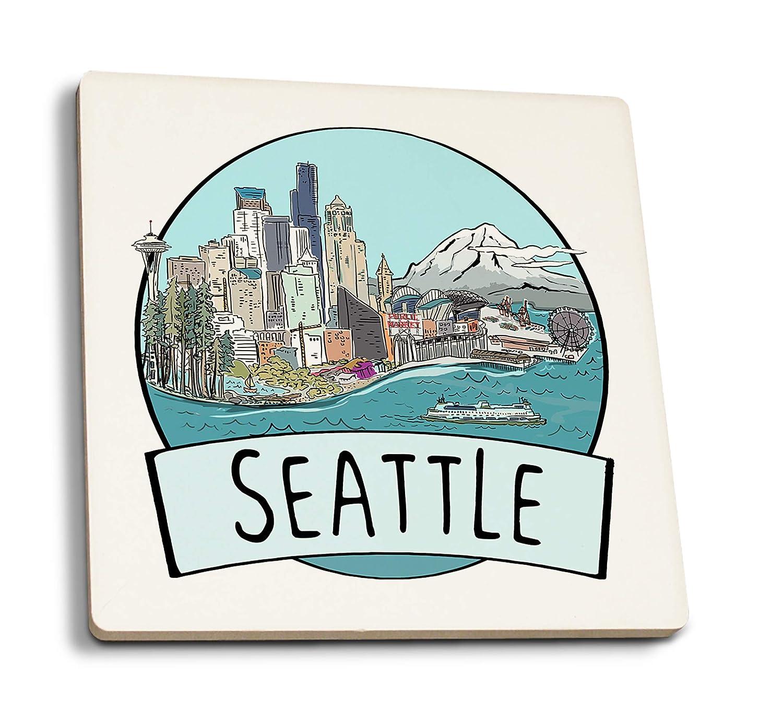 シアトル、ワシントン - 都市景観 - バッジ 4 Coaster Set LANT-89205-CT 4 Coaster Set  B07K5JVS67