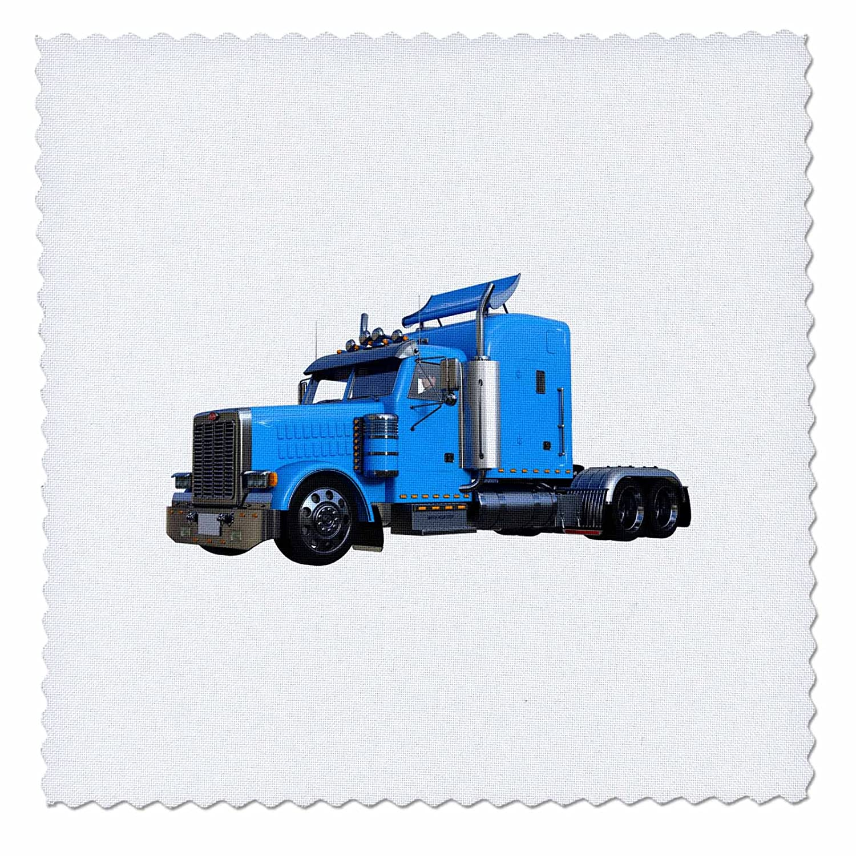 3dRose Light Blue Semi Truck in Three Quarter View Quilt Square, 14 x 14 qs_255225_5