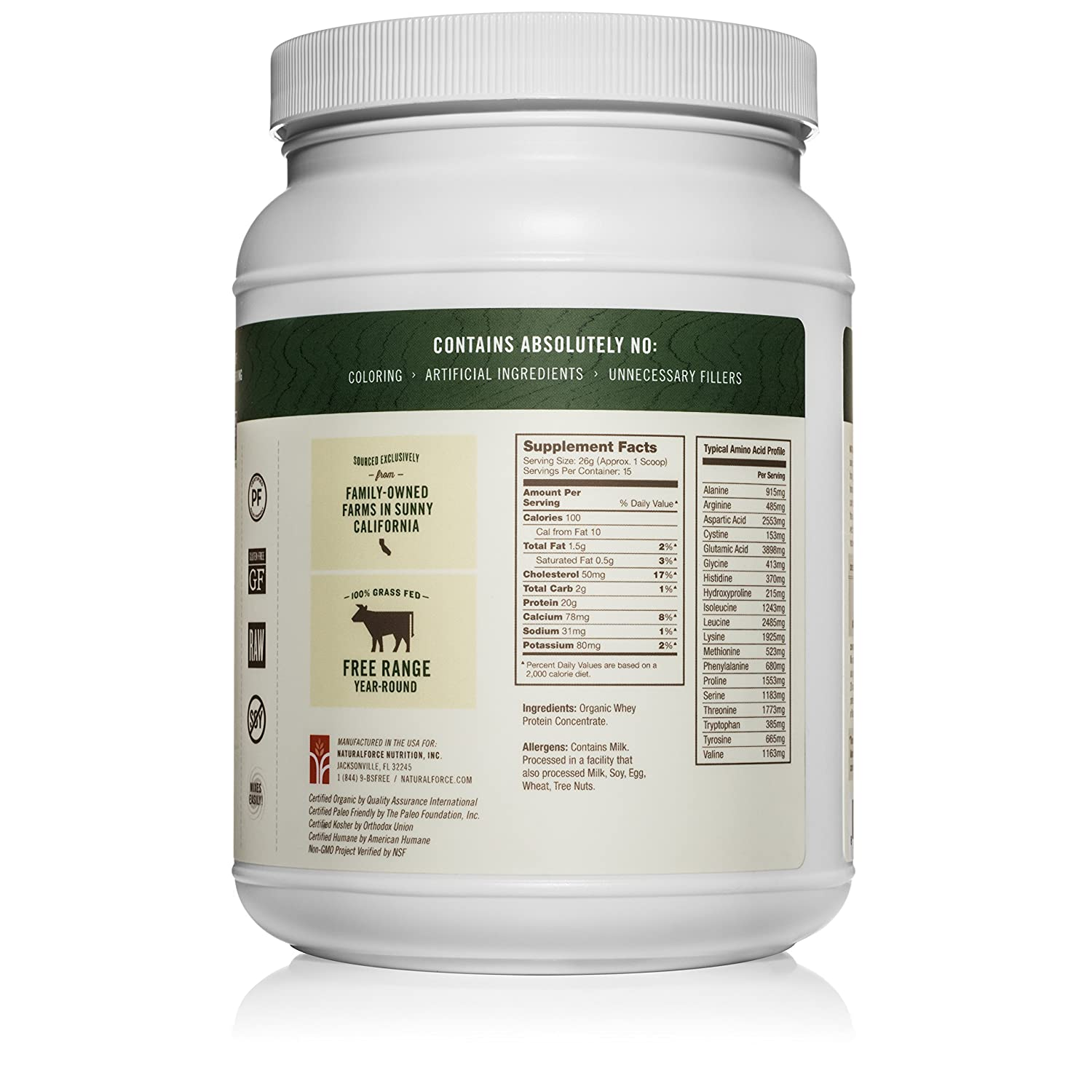 Natural Force Unflavored Organic Whey Protein Powder *UNSWEETENED* Grass Fed Whey from California Farms Pure Organic Whey, Keto, Gluten Free, Natural Whey Protein, 13.76 oz.