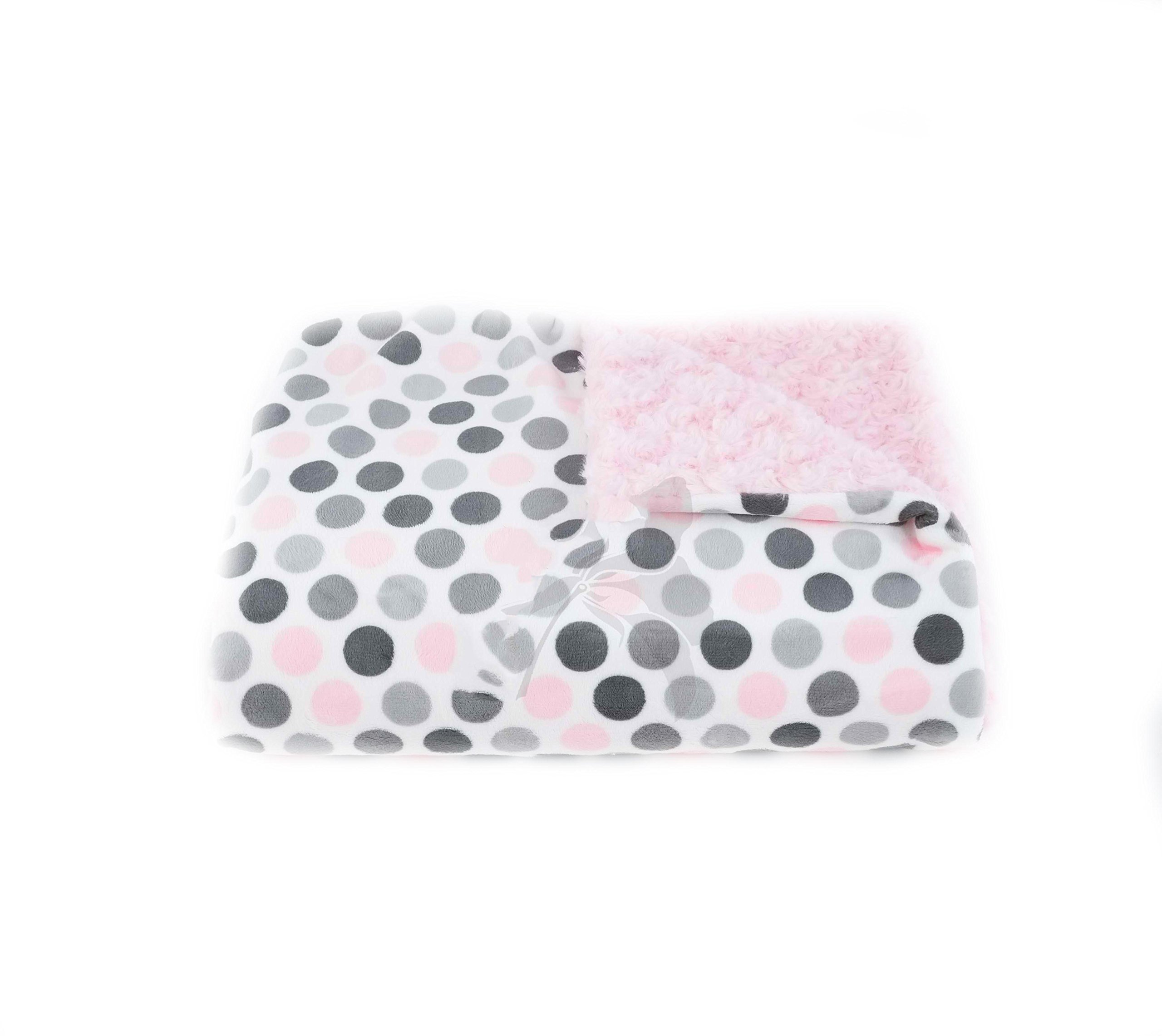 Tourance Multi Dot Blush and Grey, Rosebud Crib Blanket, 30'' x 30''