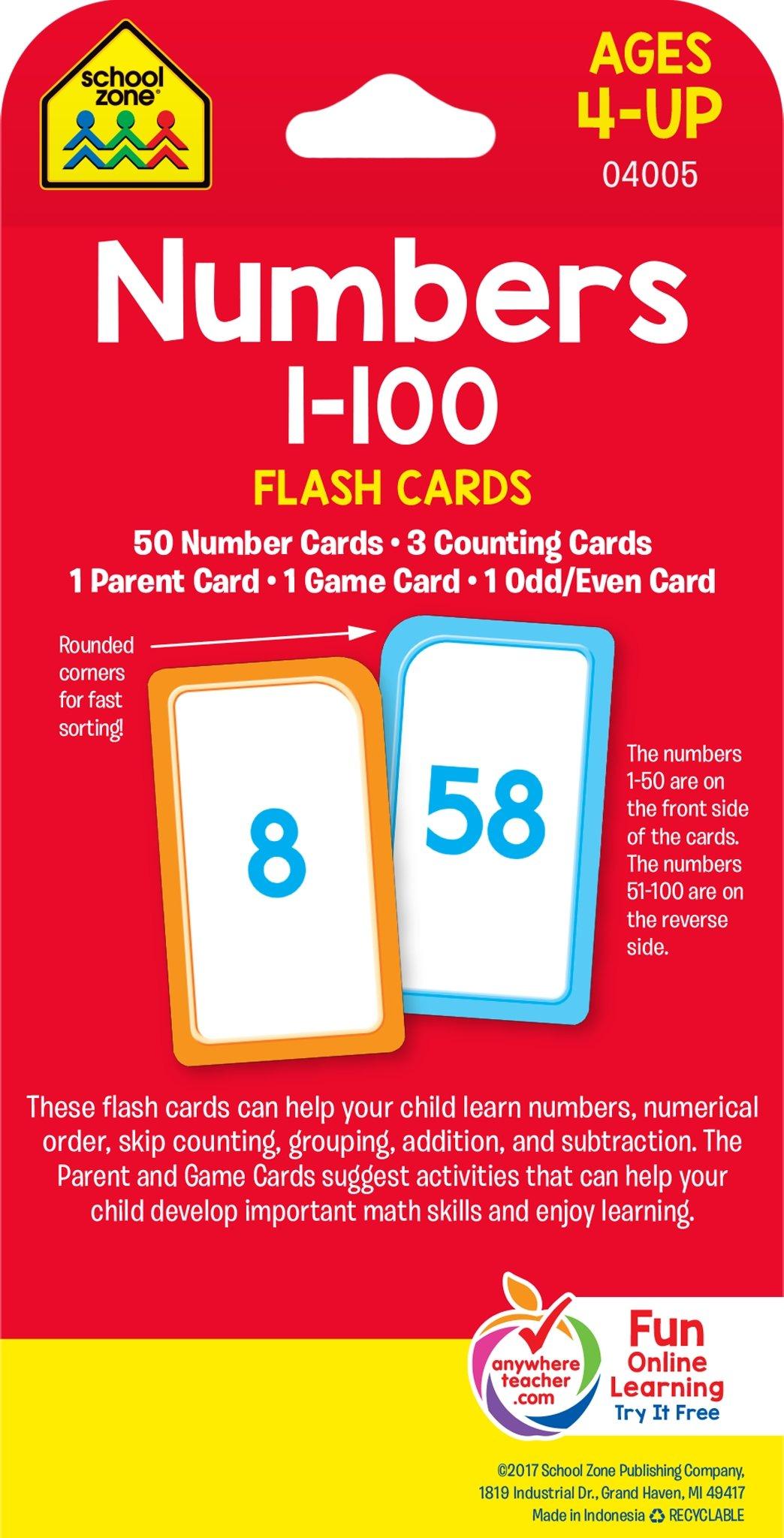 amazon numbers 1 100 flashcard school zone publishing card games