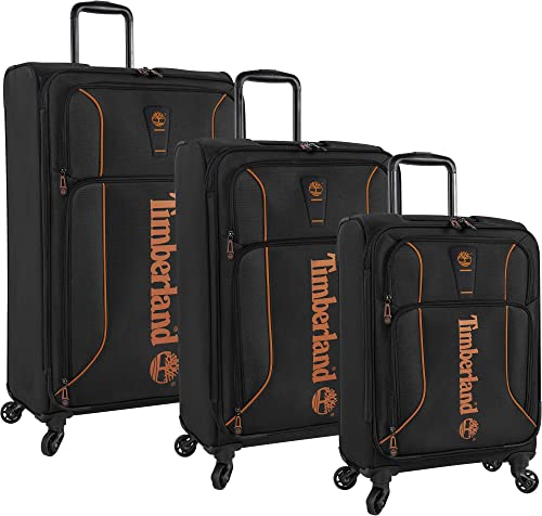 Timberland 3 Piece Hardside Spinner Luggage Suitcase Set, Jet Black, One Size