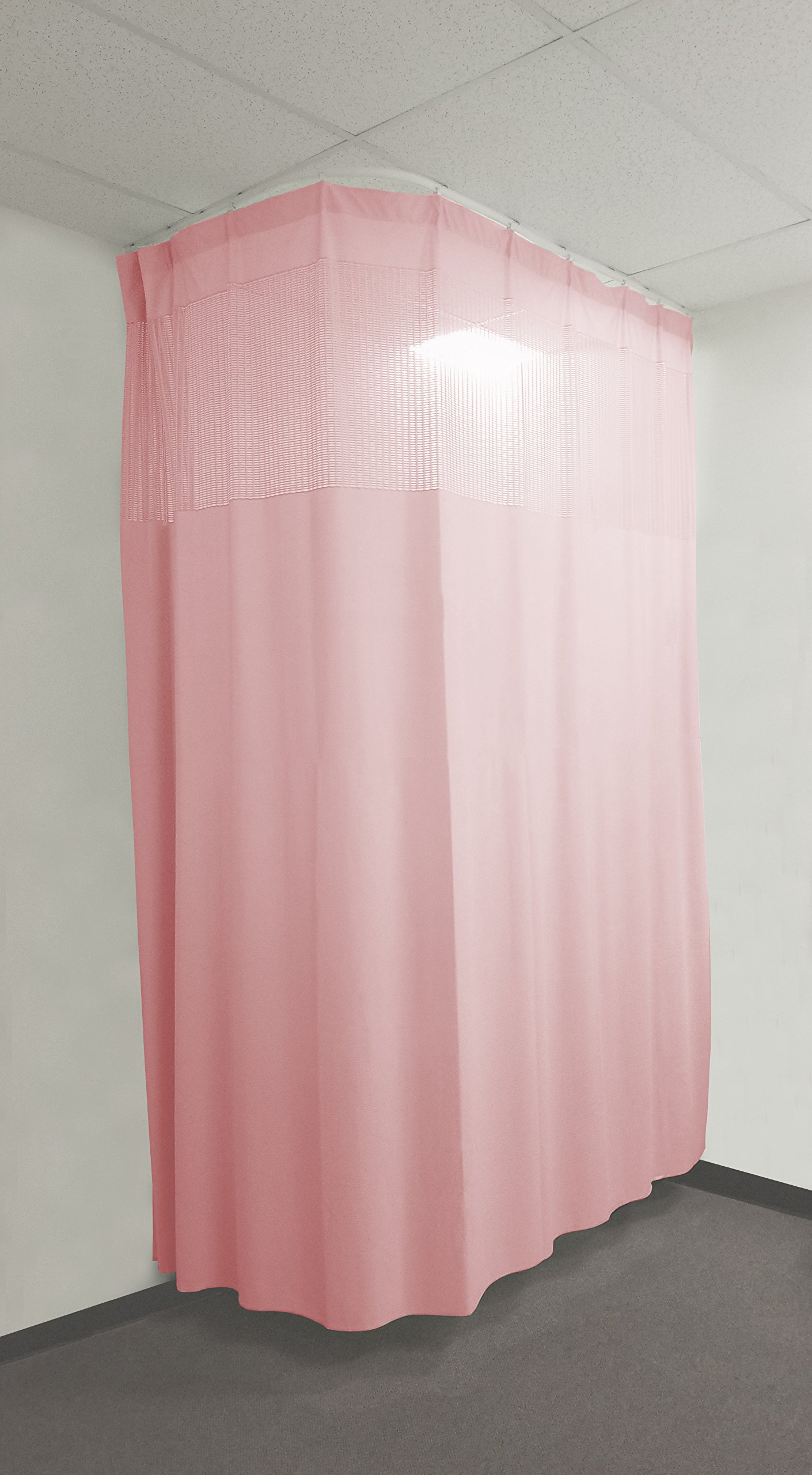 20Ft Medical Privacy Flexible Curtains High Ceiling Hospital Lab Clinic Curved Room Decorative w/ Track- 10ft High (Pink)