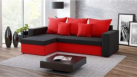 Divano Rosso E Nero : Justhome fresh ii divano angolare divano letto microfibra lxlxa