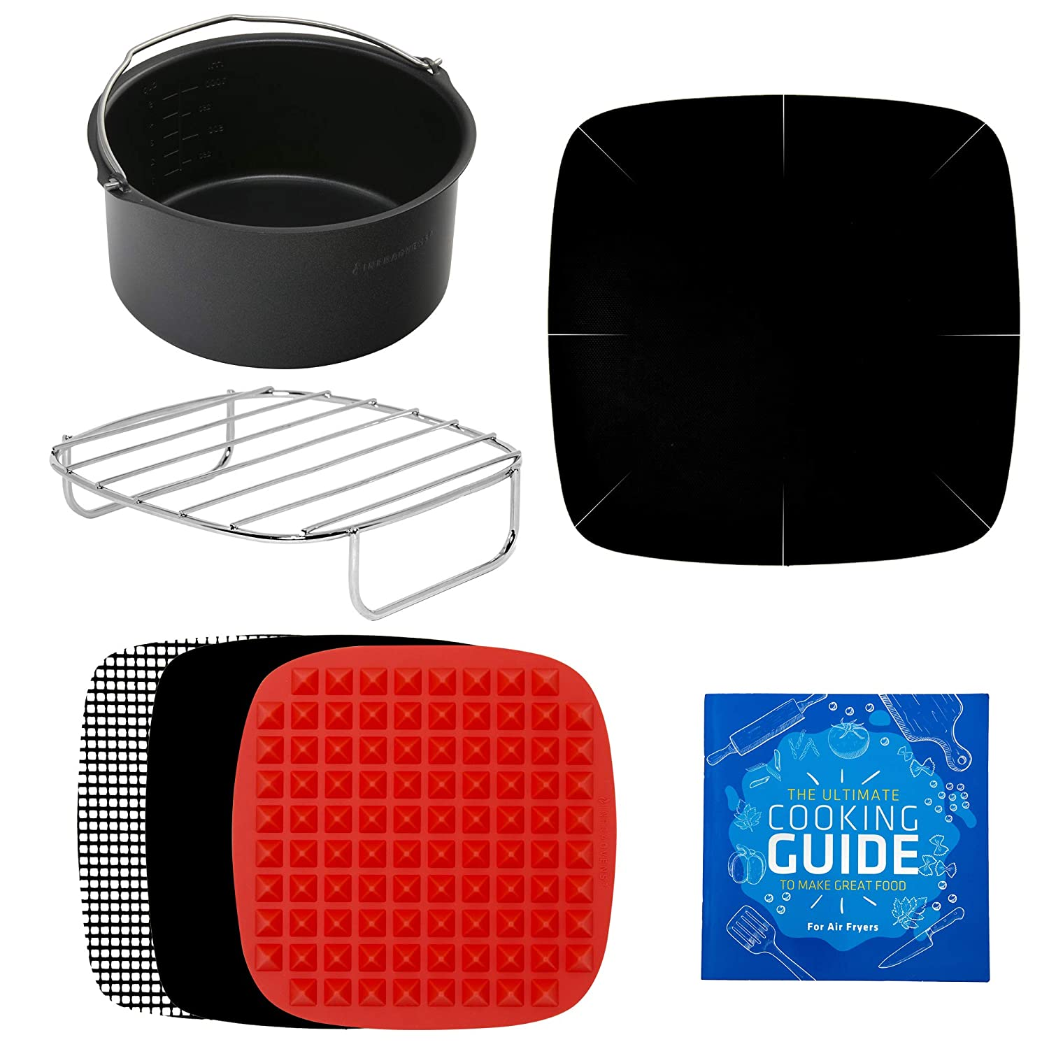 Air Fryer Accessories XL + Rack & Pan Compatible with Philips, NuWave Brio, Chefman, Gourmia, Emerald, Power Airfryer, Elite Platinum, Secura, Tidylife, COSORI, Krups, Black Decker +More by Infraovens