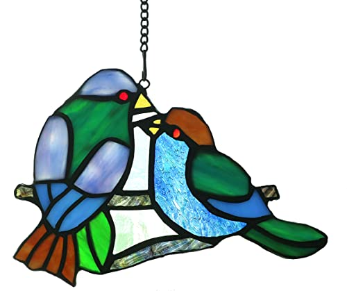 Alivagar Stained Glass Window Hangings Sun Catcher Honey Love Birds, 8 x 5