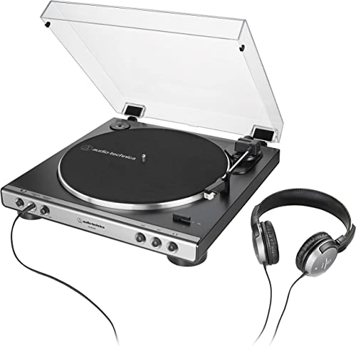 Audio-Technica AT-LP60XHP Fully Automatic Belt-Drive Turntable and Headphone Bundle, Gunmetal Black, Hi-Fi, 2-Speed, With Intregrated 3.5 mm Headphone Jack Volume Control