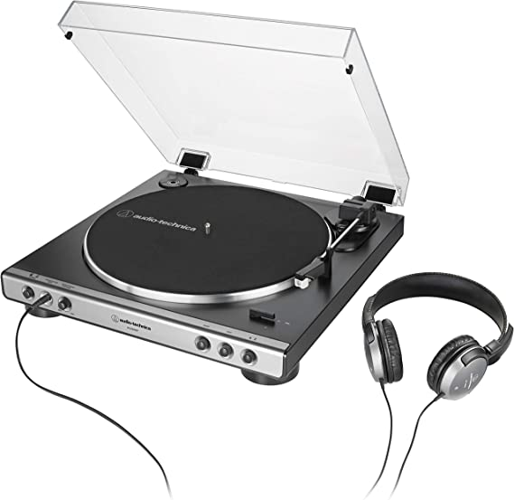 Audio-Technica AT-LP60XHP Fully Automatic Belt-Drive Turntable and Headphone Bundle