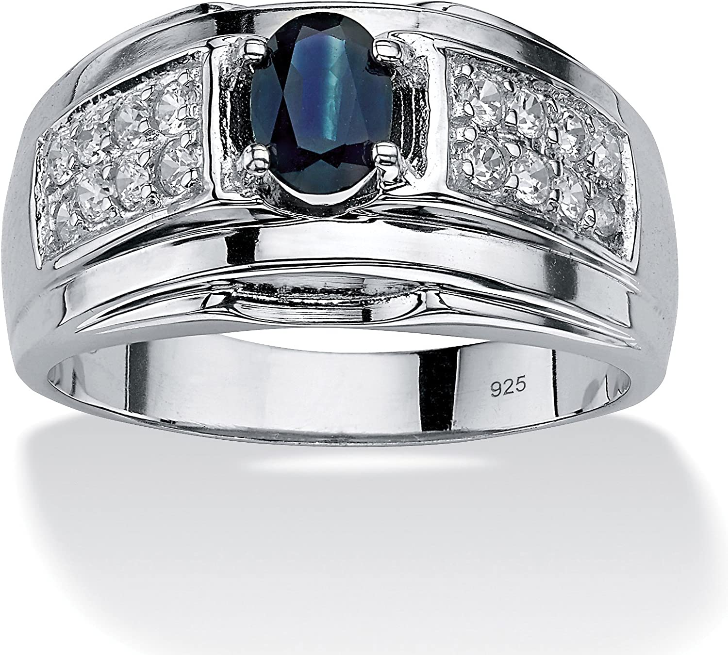 Men's Sterling Silver Oval Shaped Genuine Blue Sapphire and Round Cubic Zirconia Ring