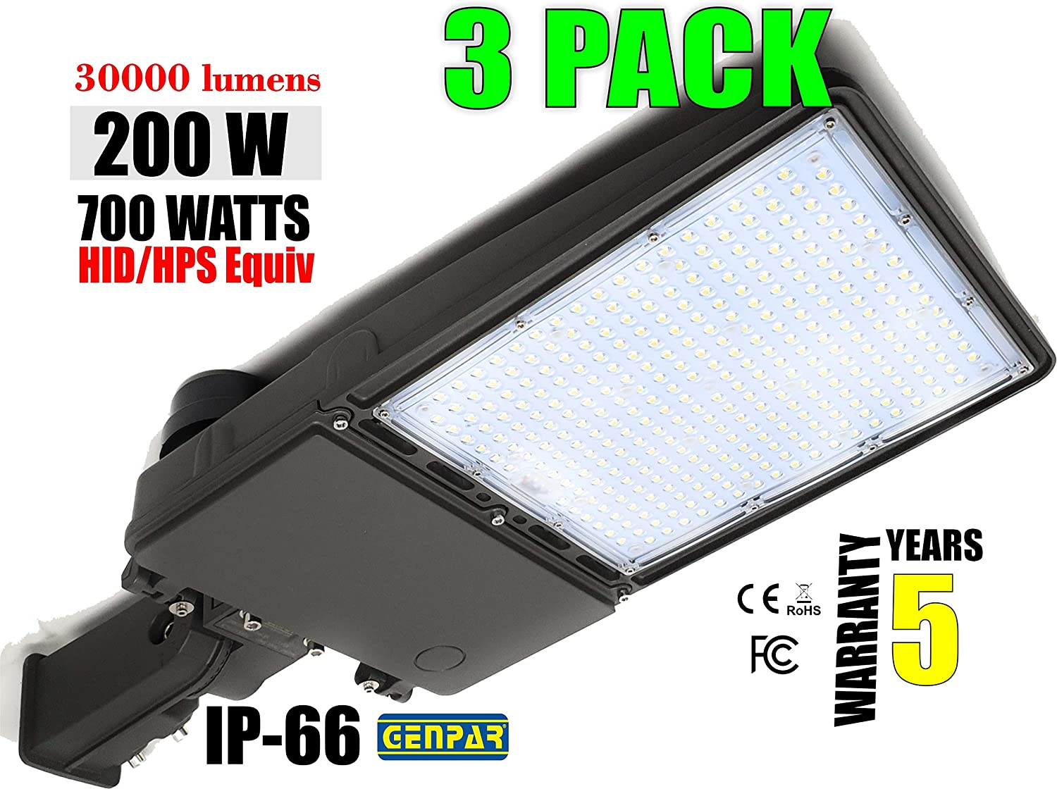 GENPAR 200W 3PK Shoebox LED Parking Lot Light 30000lm lumens Slip Fit Mount Outdoor Lighting Dusk to Dawn Photocell Pole Flood 5700K 700W Equivalent Commercial Street Area Lighting Stadium 5 Years