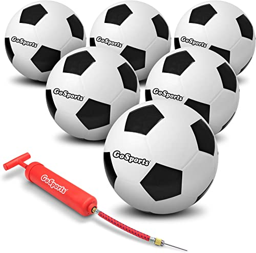 GoSports Playground Soccer Ball 6 Pack Indestructible Rubber Construction