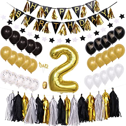 2nd Birthday Party Decorations Black And Gold For Boy