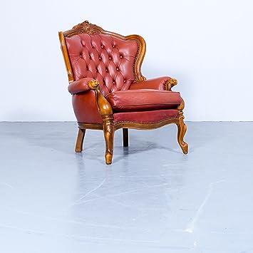 Chesterfield Sessel Rot Braun Orange Leder Einsitzer ...