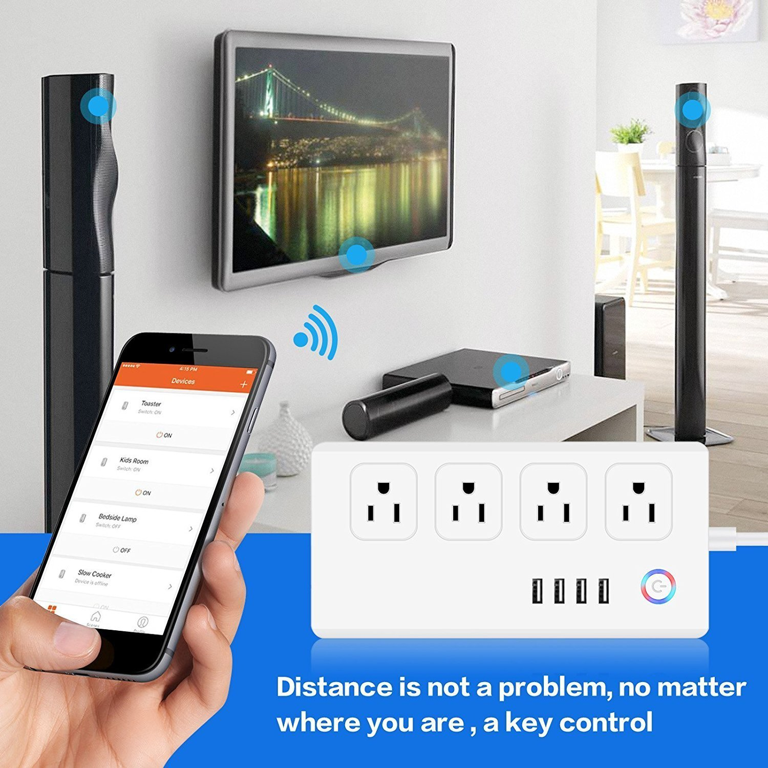 Power Strip Socket DIWUER WiFi Smart Multi Outlets with 4 Plug 4 USB Ports Work with Amazon Alexa Surge Protector Timer Remote Control by iPhone and Android Phone by DIWUER (Image #3)