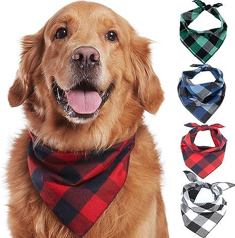 Amazon.com : Odi Style Buffalo Plaid Dog Bandana 4 Pack - Cotton Bandanas  Handkerchiefs Scarfs Triangle Bibs ...