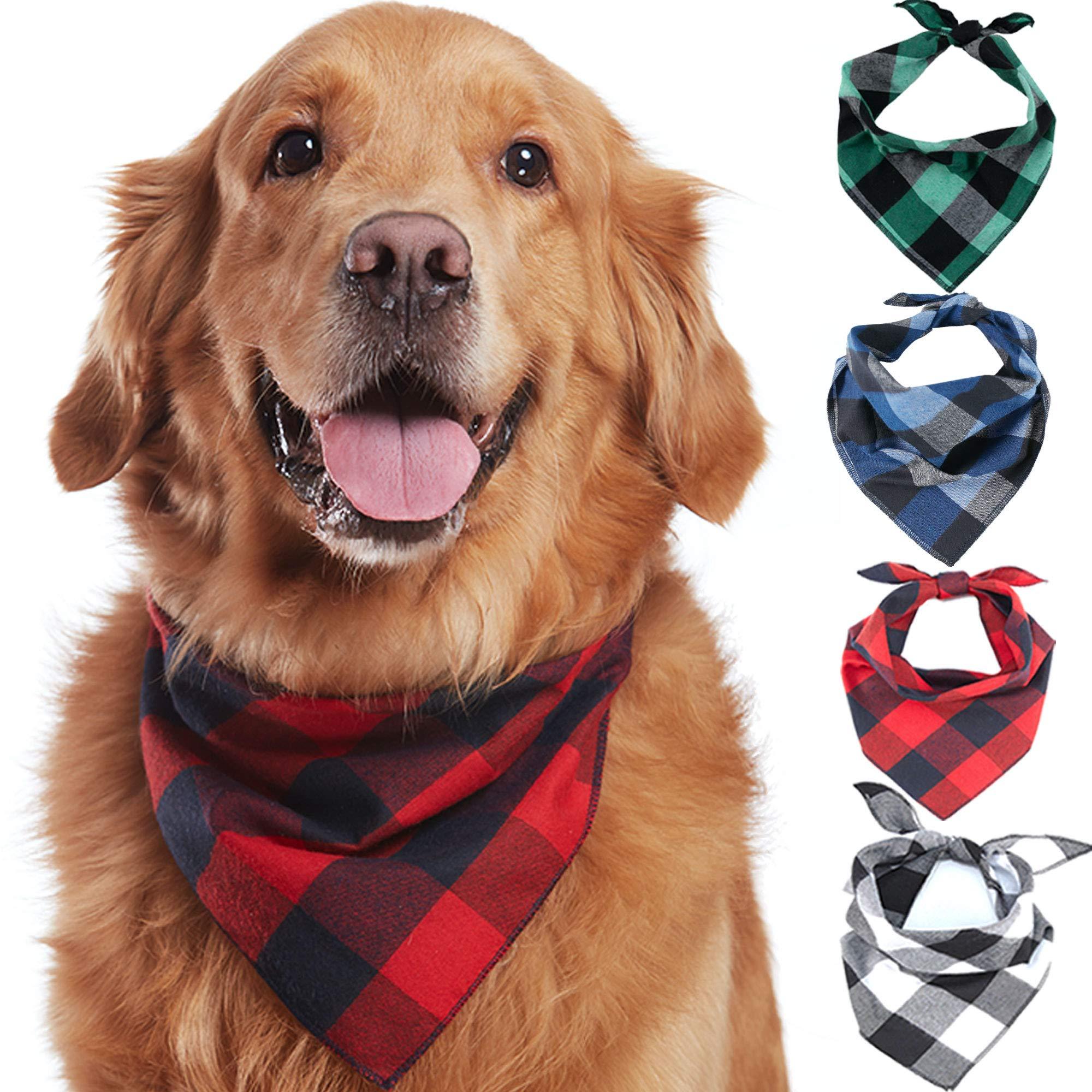 Odi Style Buffalo Plaid Dog Bandana 4 Pack – Cotton Bandanas Handkerchiefs Scarfs Triangle Bibs Accessories for Small…