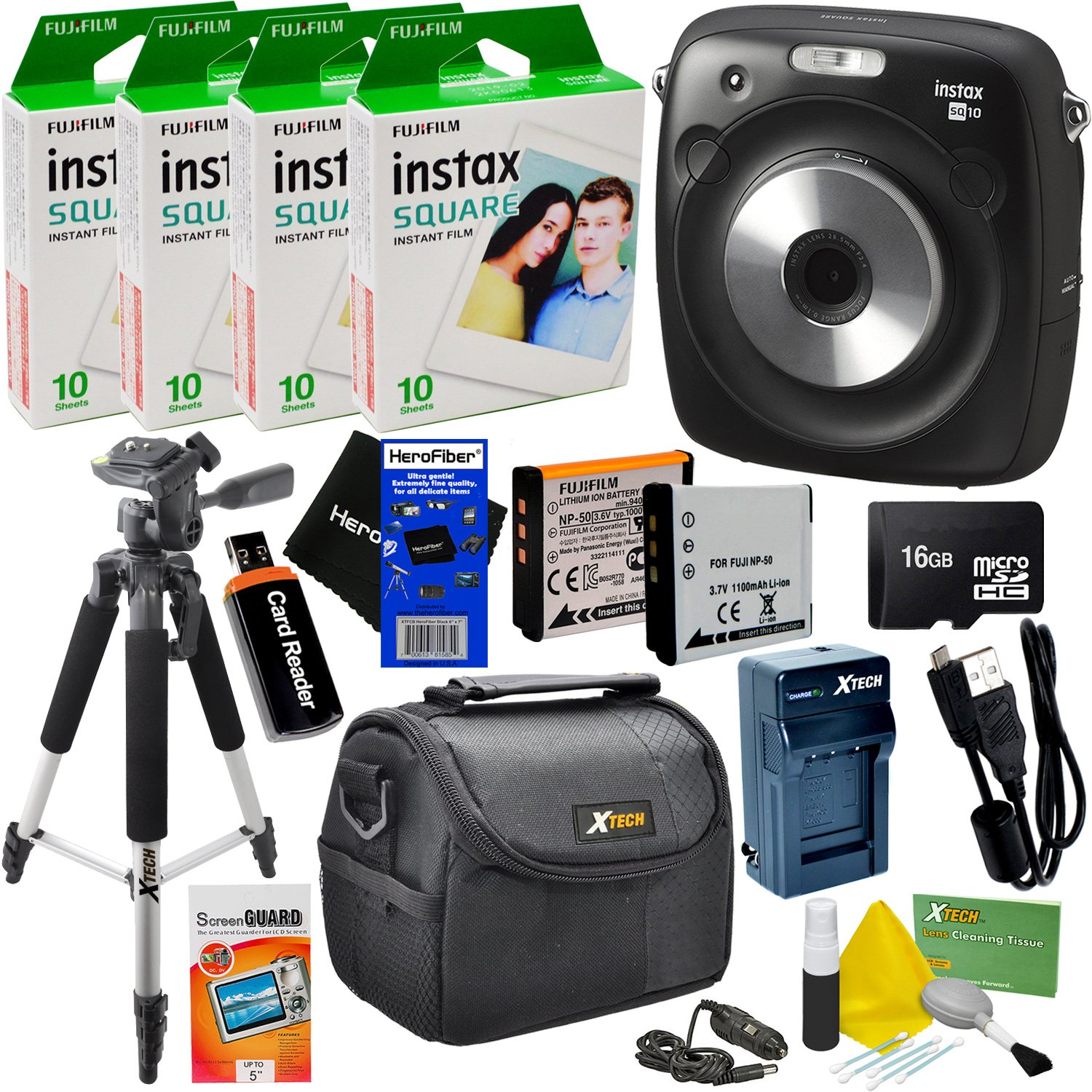 "Fujifilm Instax Square SQ10 Hybrid Instant Camera + 4 Fujifilm Instax Square Instant Films (40 Sheets) + 16GB Memory Card + 57"" Tripod + 9pc Accessory Kit w/ HeroFiber Ultra Gentle Cleaning Cloth"