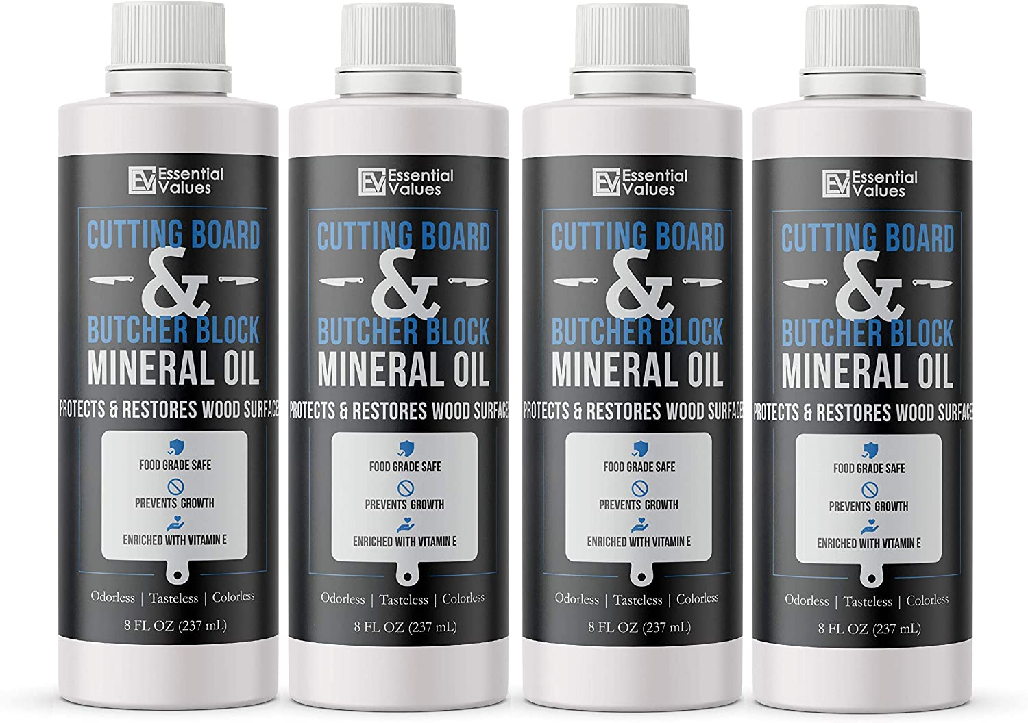 Essential Values (4 Pack) Cutting Board & Butcher Block Mineral Oil (8 fl oz) – Perfect for Protecting & Restoring Wood Surfaces, Compatible with All Wood Types & Food Grade Safe, Proudly Made in USA