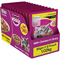 Whiskas Chicken in Gravy, Wet Gravy Food for Kittens, 85 g Pouch (Pack of 12)