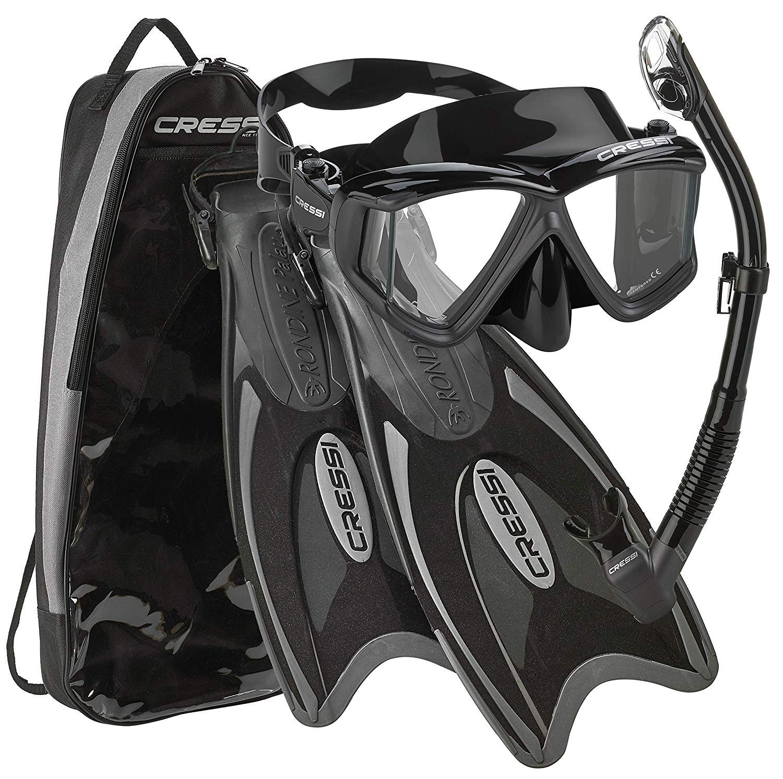Cressi Palau Traveling Premium Snorkel Set, Panoramic Wide View Adult Diving Snorkeling Mask, Desert Dry Snorkel, Adjustable Fins, Travel Gear Bag - Black Titanium - Medium/Large by Cressi