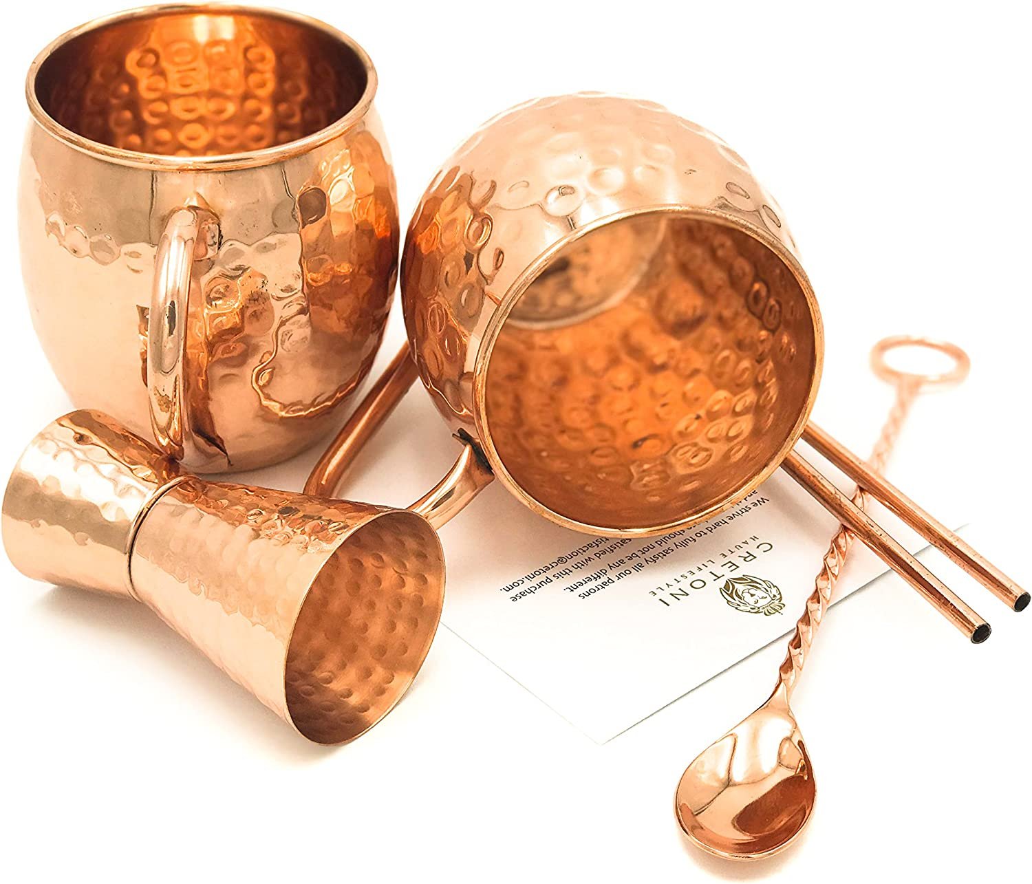 Cretoni Copperlin Pure Copper Hammered Moscow Mule Mugs Set of 2 with BONUS HANDCRAFTED 16 oz MUGS WITH 2 Copper Straws The Ultimate Gift set! Hammered Jigger /& Twisted Bar Spoon