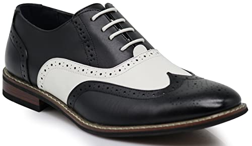 Saddle Shoes: Black & White Saddle Oxford Shoes Wood8 Mens Two Tone Wingtips Oxfords Perforated Lace up Dress Shoes $32.99 AT vintagedancer.com