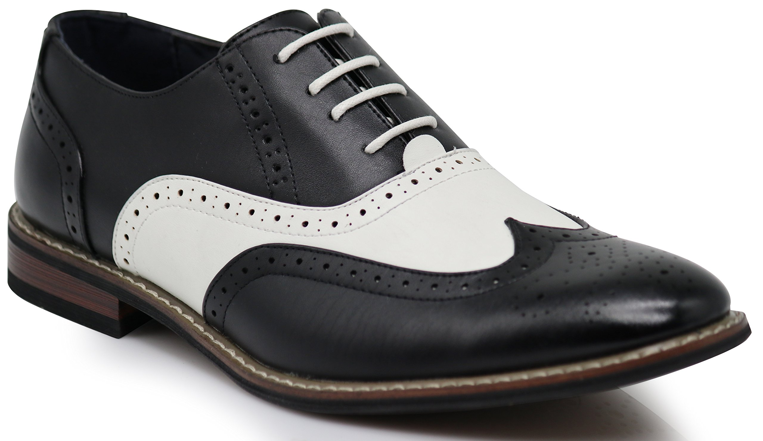 Wood8 Men's Two Tone Wingtips Oxfords Perforated Lace up Dress Shoes (10)